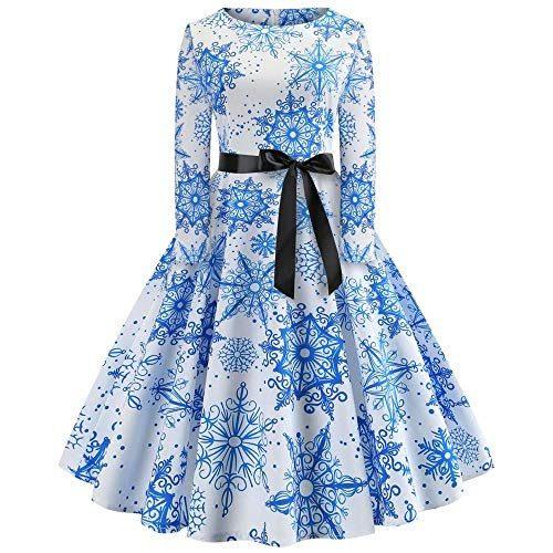 Tifiy Weihnachtskleid Vintage Faltenrock Kleider
