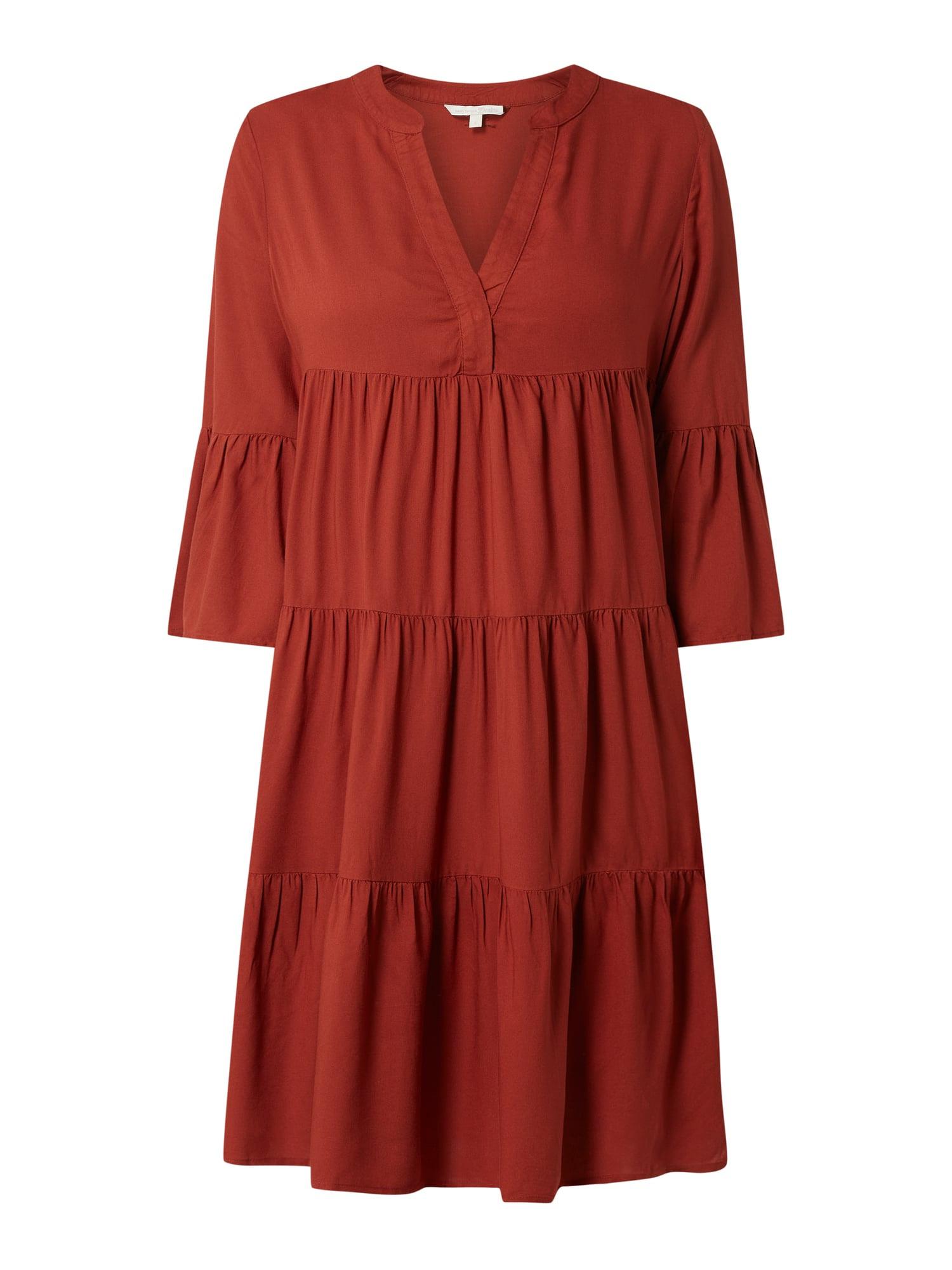 Tom Tailor Denim Kleid Aus Viskose Mit Raffungen In Rot