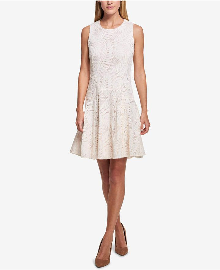 Tommy Hilfiger Sleeveless Lace Fit  Flare Dress  Kleider