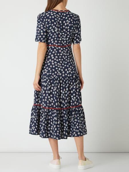 Tommy Jeans Kleid Aus Viskose Mit Zierborten In Blau