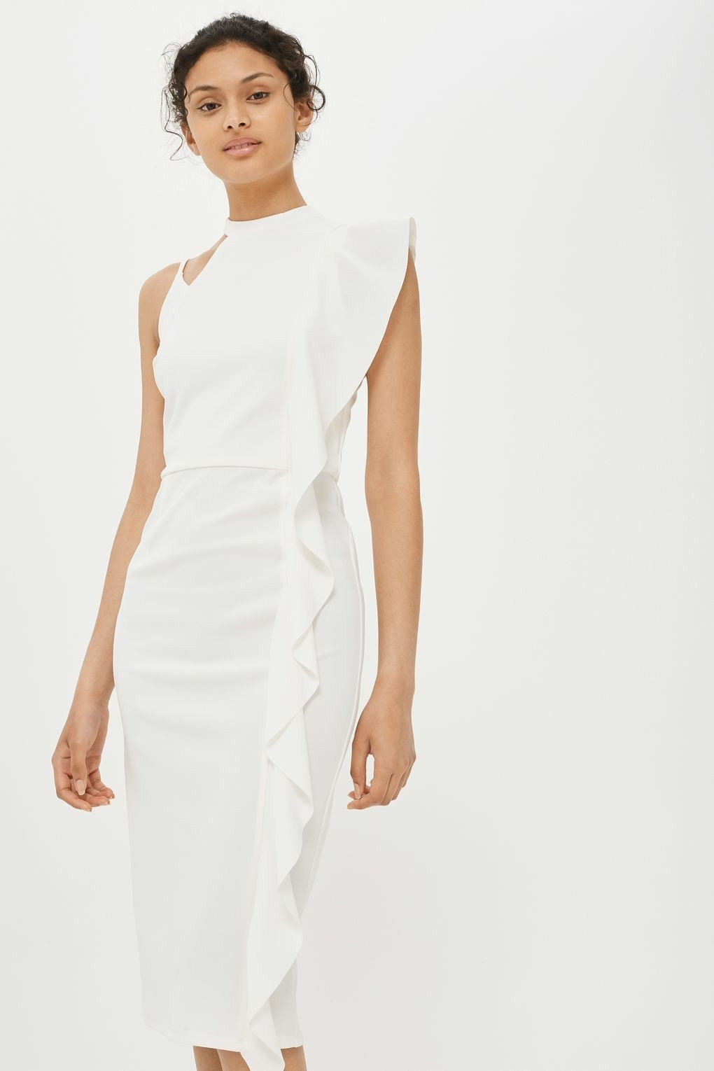 Topshop Asymmetrical Ruffle Midi Dress With Images  Top