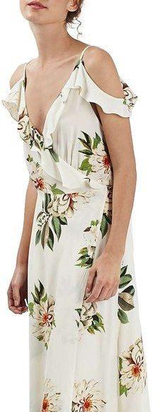 Topshop Floral Print Ruffle Cold Shoulder Wrap Maxi Dress