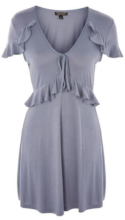 Topshop Tie Front Frill Tea Dressfallfashion