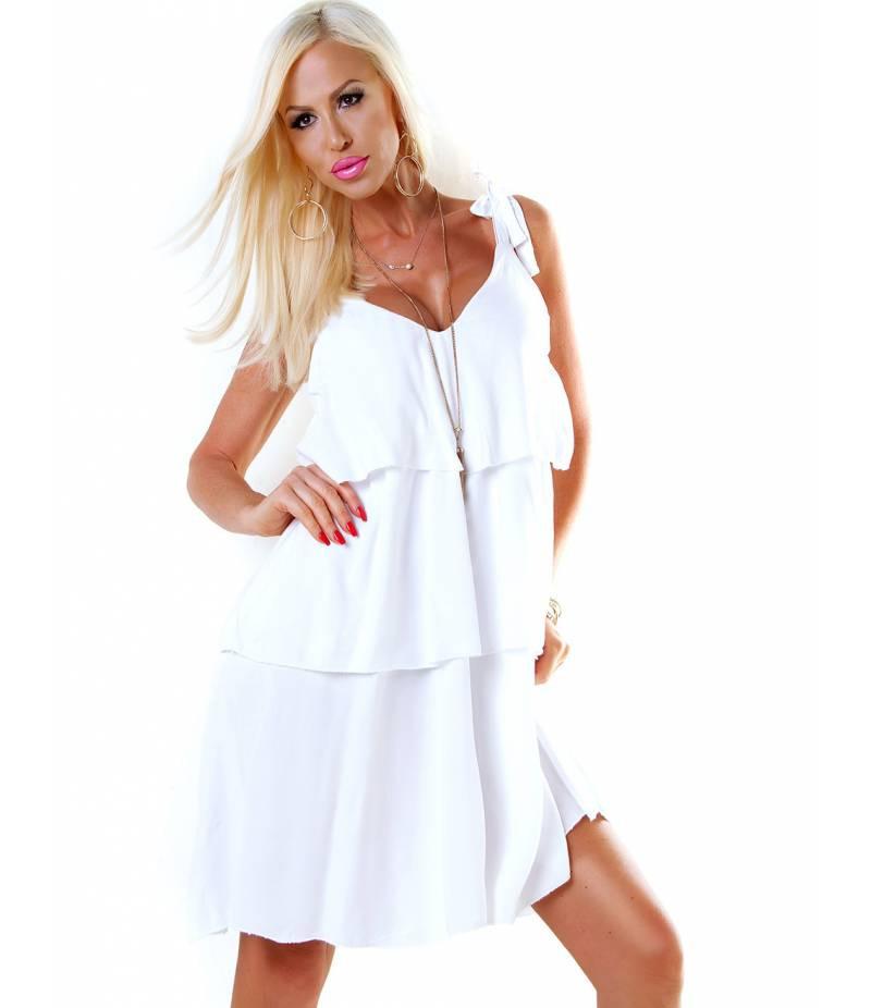 Trägerkleid 5Peoples  Volants  Weiss All Dresses