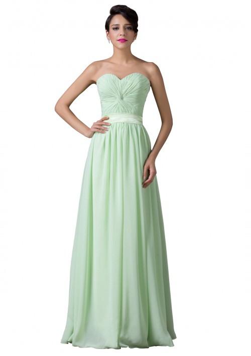 Trägerloses Langes Abendkleid In Verträumten Mintgrün