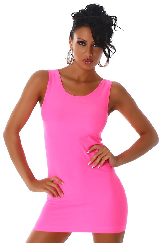 Trägerminikleid Kleid Kurz Stretchkleid Mini Neon Sommer