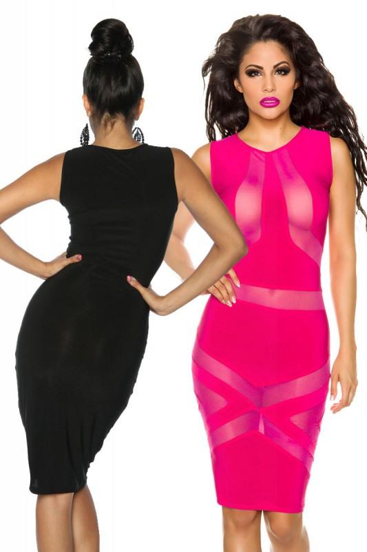 Transparente Jersey Stretchkleid Pink Und Schwarz