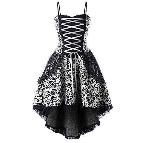 Transwen Spitze Korsett Kleid Damen Mini Kleider Gothic