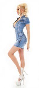 Trendstylez  Jeans Minikleid Mit Knopfleiste