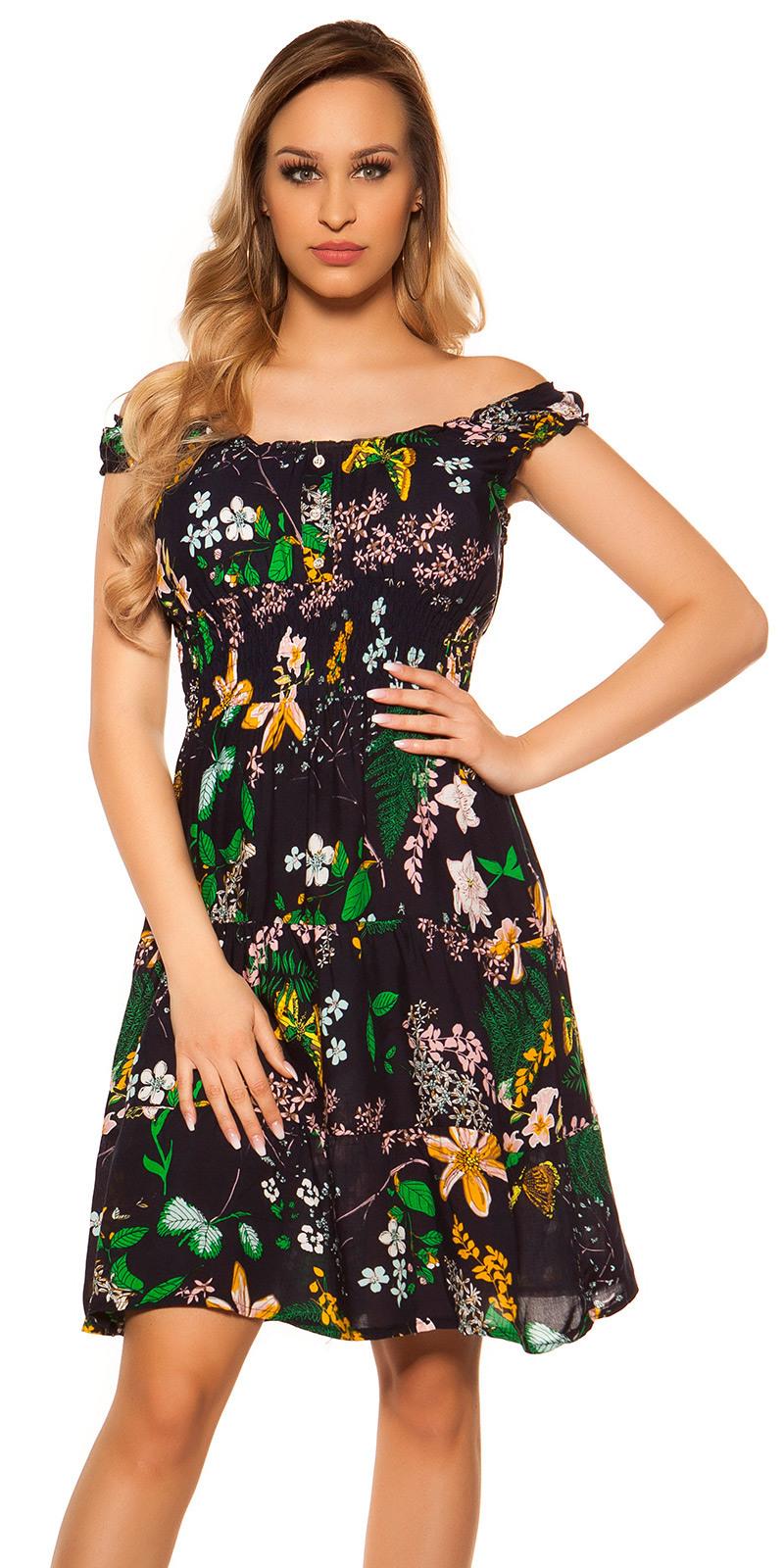 Trendy Off Shoulder Kleid Blumenmuster  Trägerminikleider