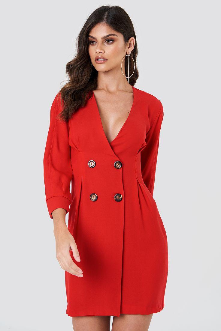 Trendyol Buttoned Blazer Dress  Red  Dresses Maxi Dress