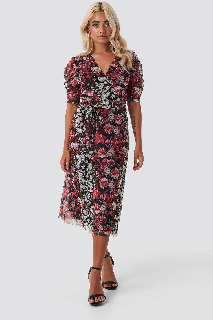 Trendyol Smooth Flower Midi Dress  Multicolor Trendyol