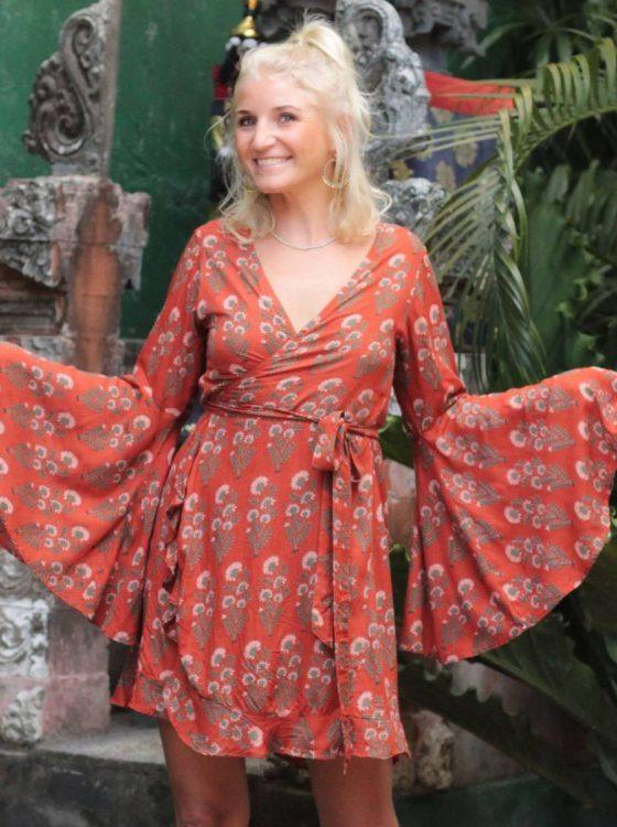 Trompetenärmel Kleid Zum Wickeln In Terracottarot  Boho