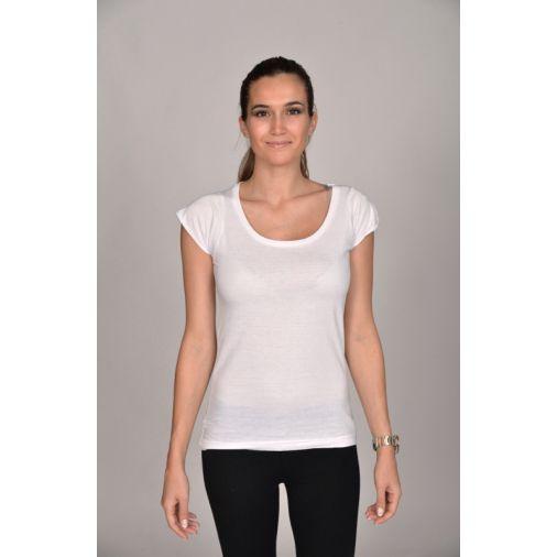 Tshirt Damen Runder Ausschnitt Uni Scoop Neck Weiß