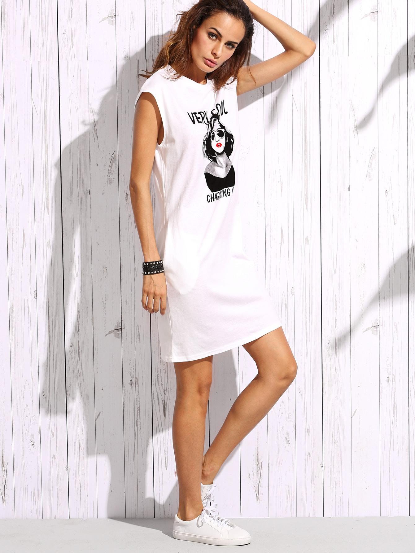Tshirt Kleid Mit Druck  Weiß  Shein