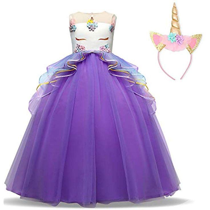 Ttyaovo Mädchen Einhorn Phantasie Prinzessin Kleid Kinder