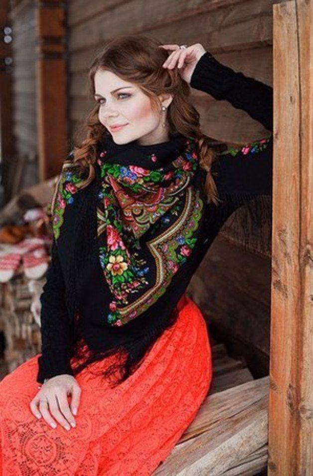 Tuch Schal Boho Palantin Folklore Ethno Russisch