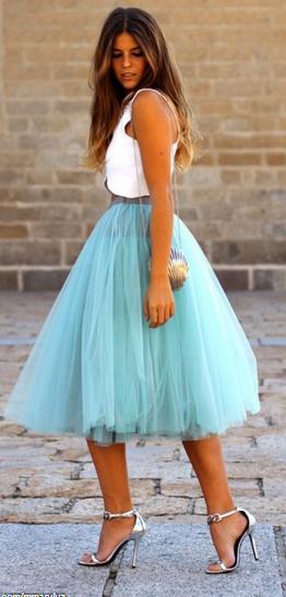 Tüllrock Babyblau Mit Bildern  Tüllrock Outfits
