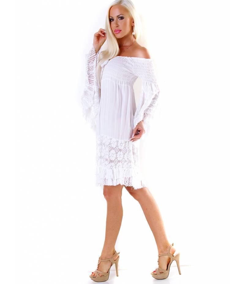 Tunika Kleid 5Peoples  Spitze  Weiss All Dresses