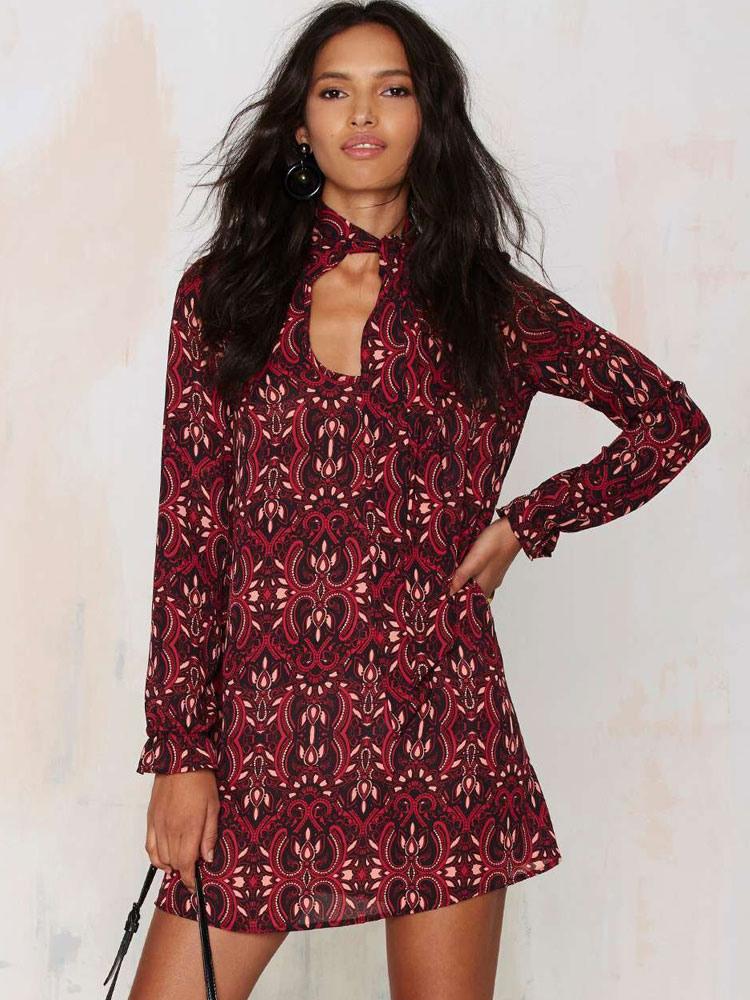 Tunika Kleid Langarm Kleider Rot Mit Printmuster Polyester