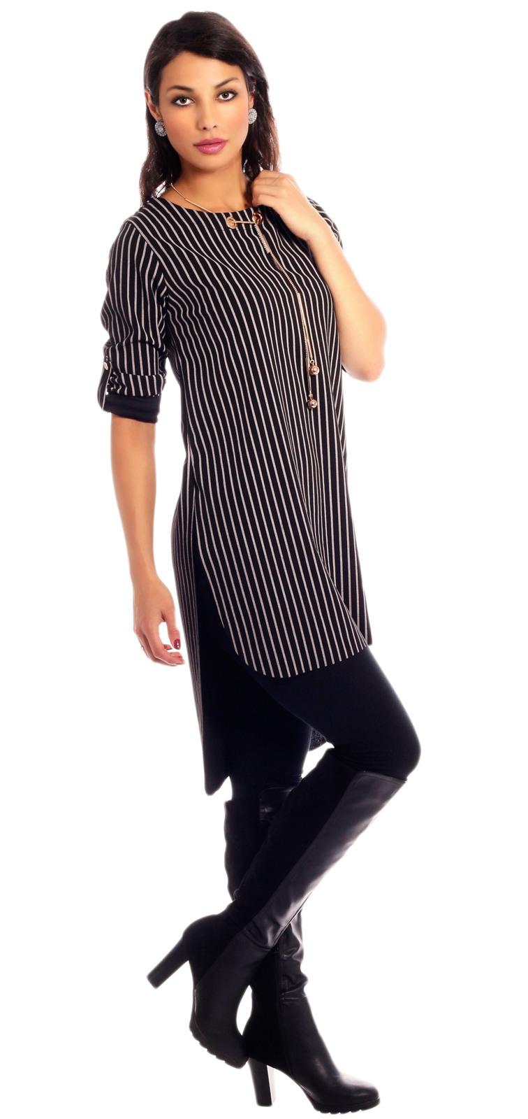 Tunika Kleid Mit Modeschmuckkette Im Colour Stripes Look