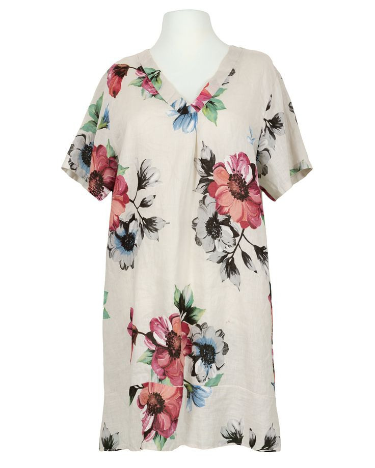 Tunikakleid Leinen Floral Beige In 2020  Tunika Kleid