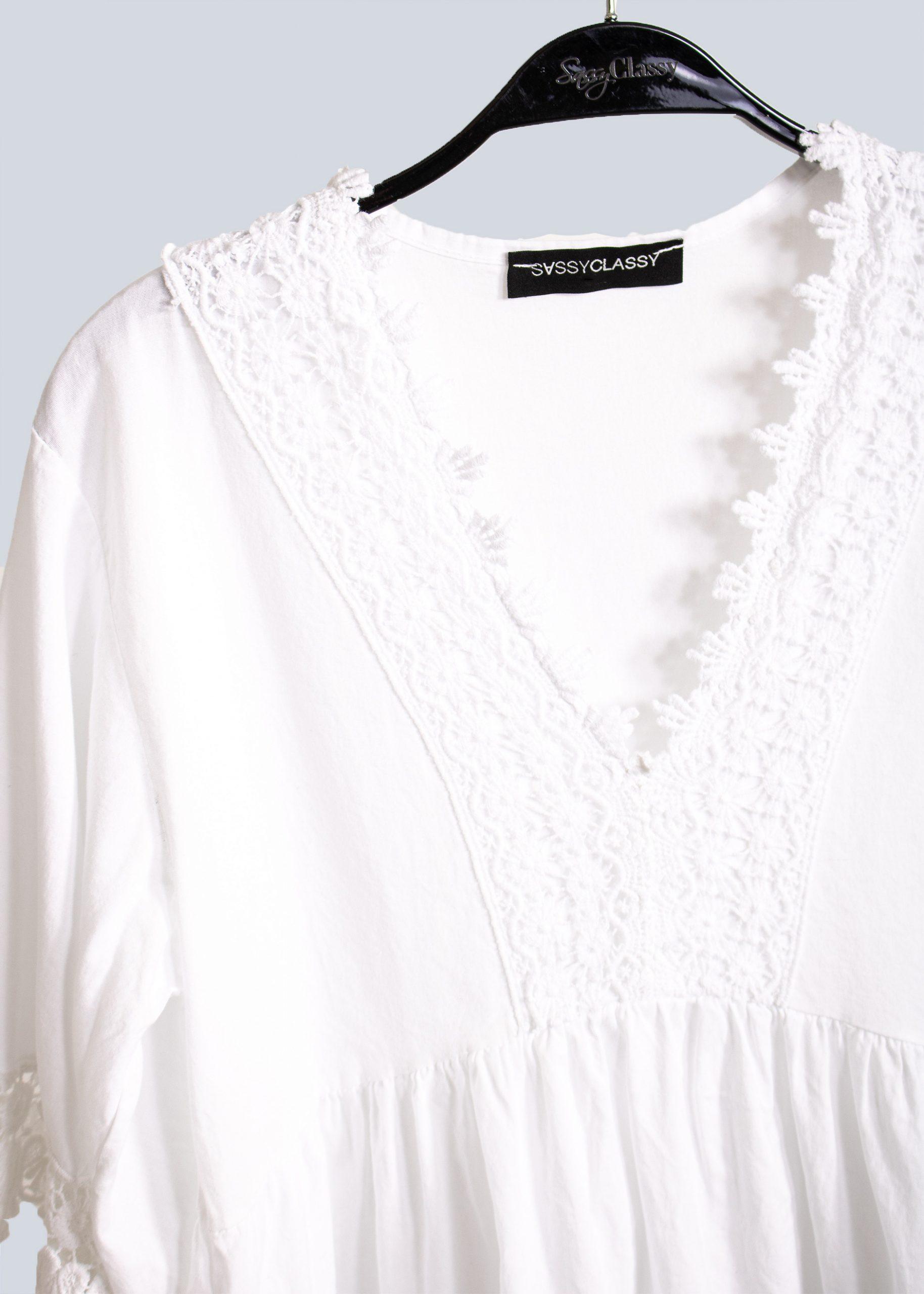 Tunikakleid Mit Spitze Weiß  Kleider  Bekleidung