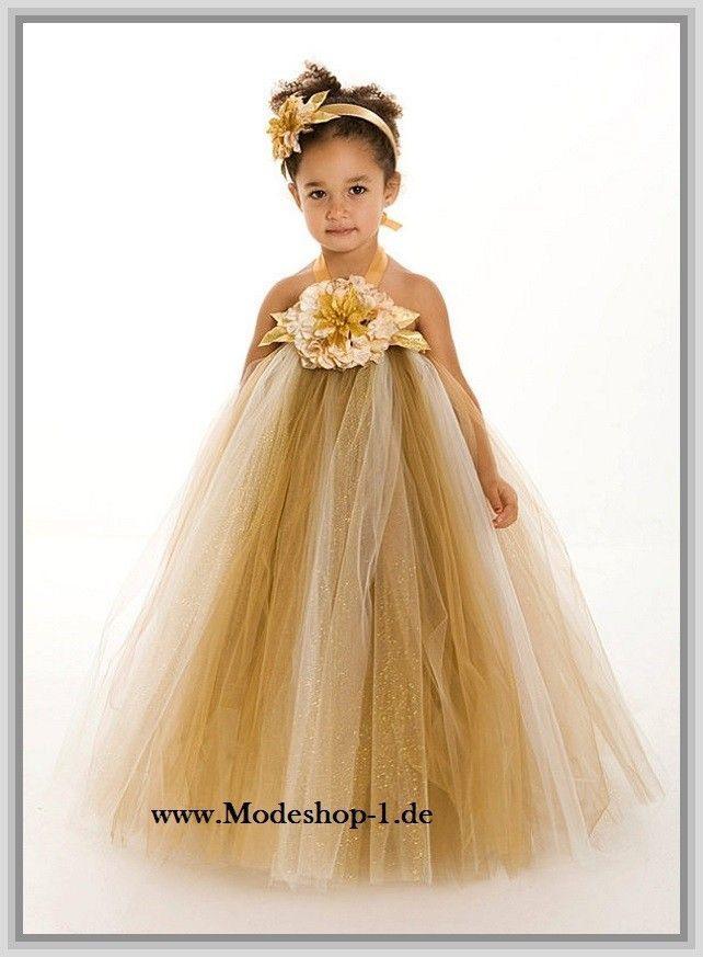 Tütü Blumenmädchenkleid In Gold  Blumenmädchen Kleid