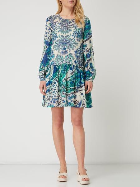 Twin Set Kleid Aus Krepp Im Double Layer Look In Blau
