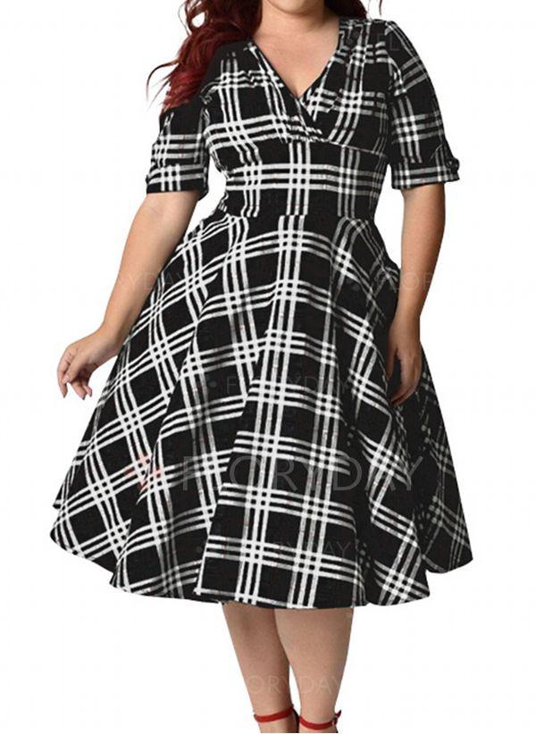 Übergröße Größe Elegant Halbarm Karierte Midi Kleider