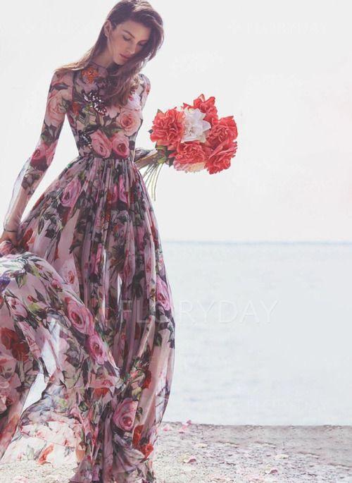 Übergröße Größe Lange Ärmel Blumen Maxi Kleider  Floryday