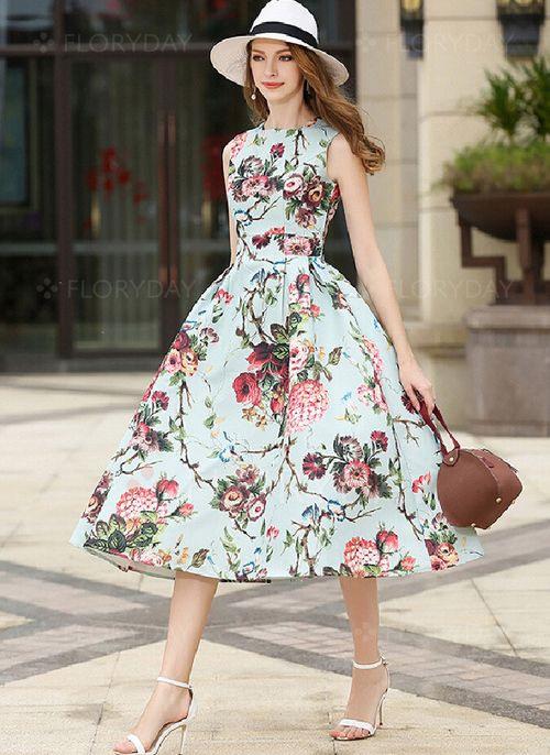 Übergröße Größe Vintage Ärmellos Blumen Midi Kleider