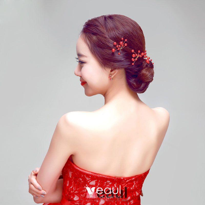 Uförmige Rote Braut Kopfstück / Kopf Blume / Hochzeit