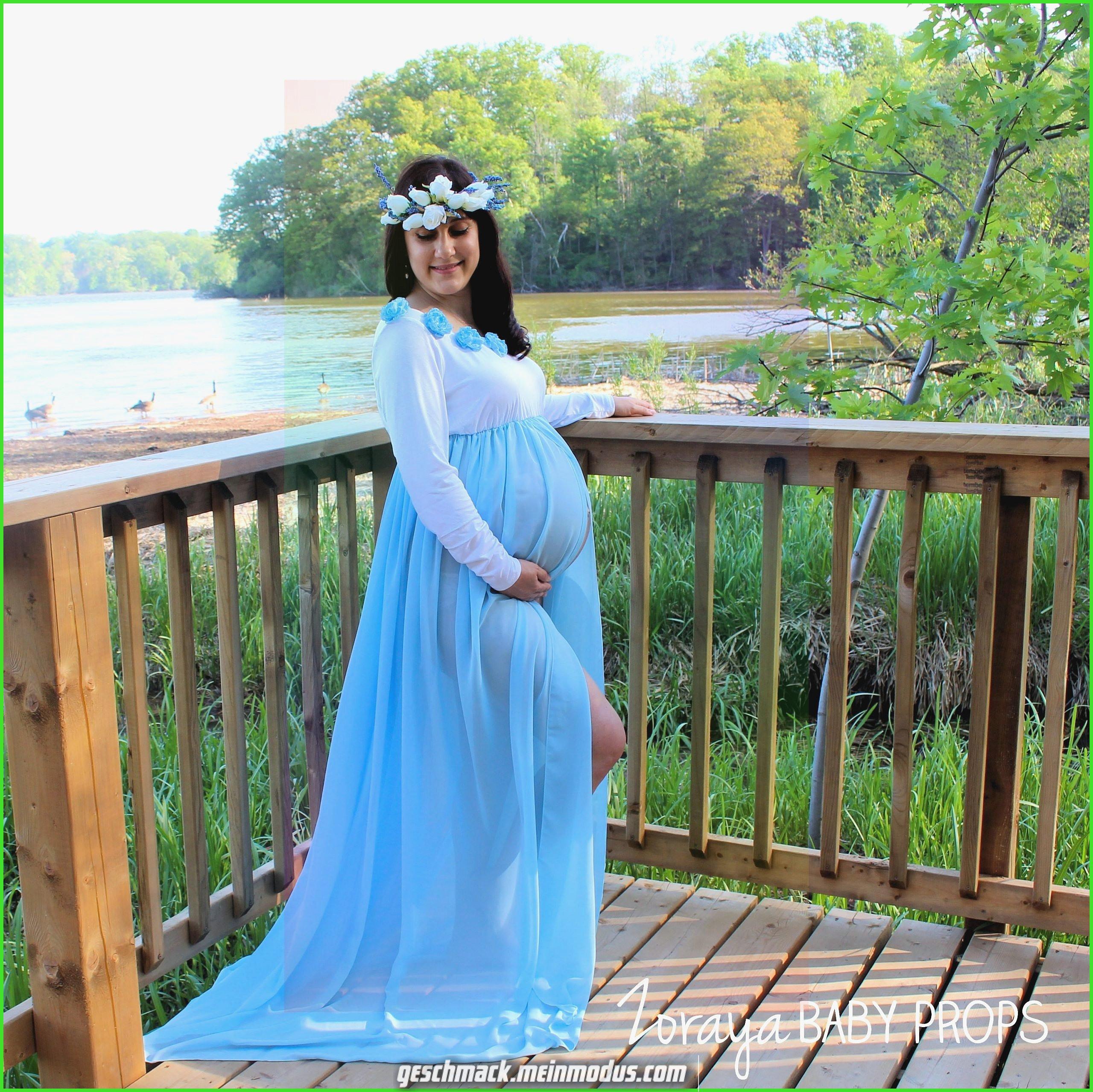 Umstandskleid Blaues Kleid Lange Zeit Ärmel Chiffon