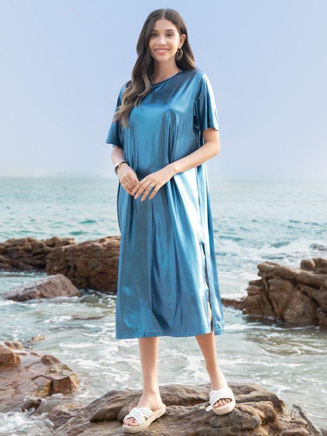 Unifarben Kurzarm Freizeitkleider  Modetalente