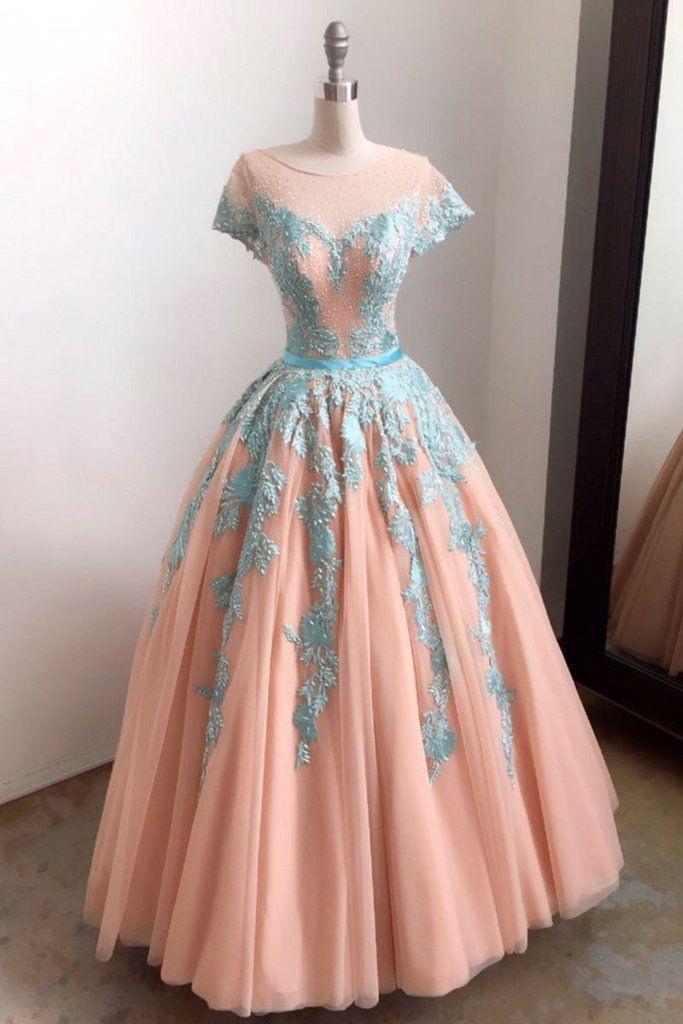 Unique Baby Blue Lace Appliques Long Formal Prom Dress