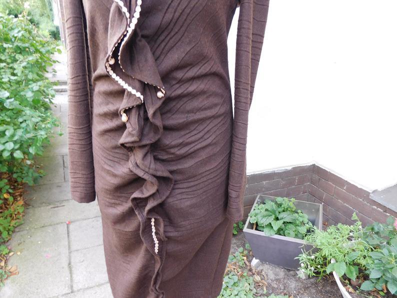 Upcycling Kleid Braunes Kleid Wollkleid Spitzenkleid Kleid