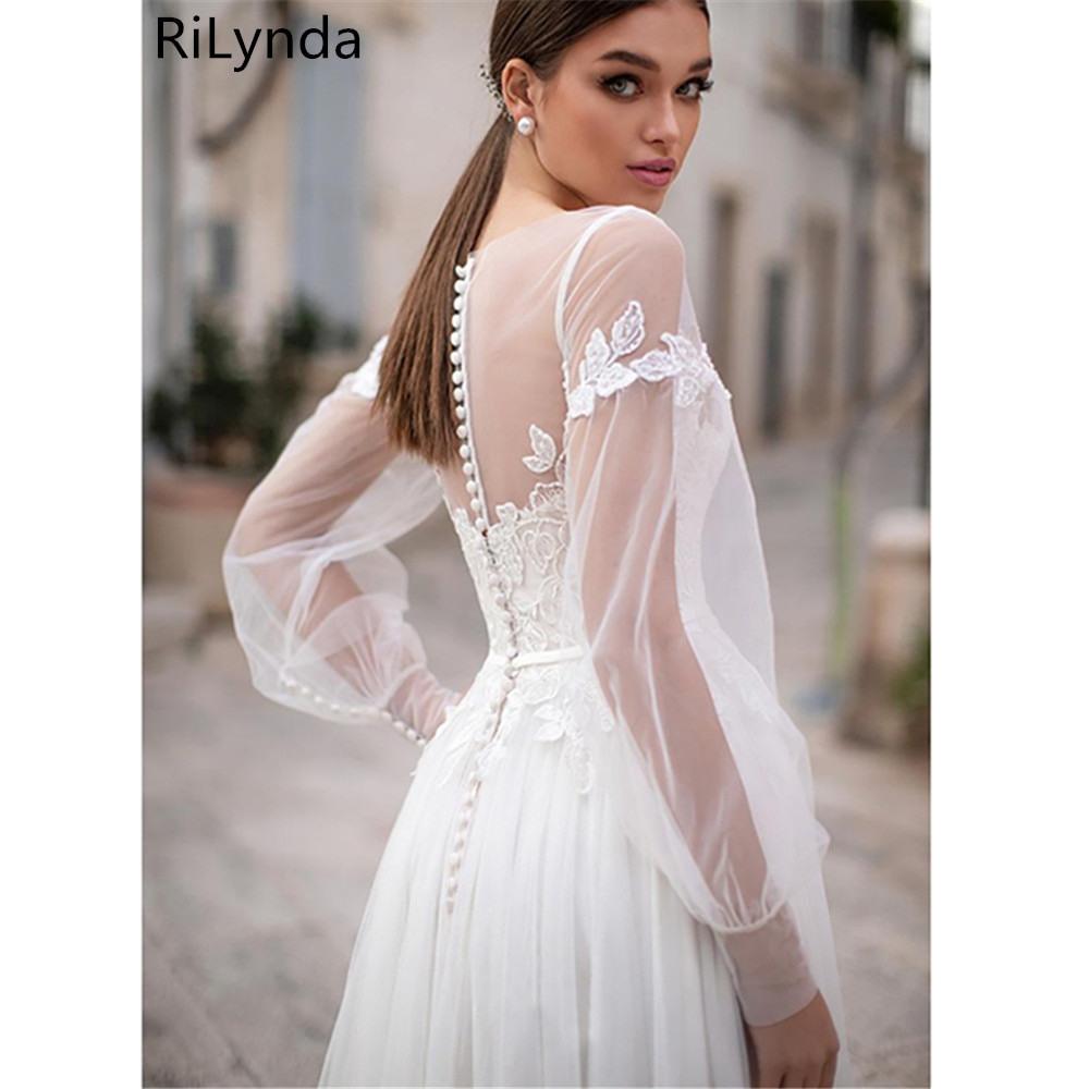 Us 10478 38 Offboho Lange Ärmel Hochzeit Kleid 2019