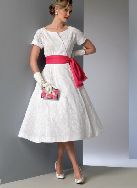 V9105 Damen Kleid Schärpe Vogue  Formell  Kleider
