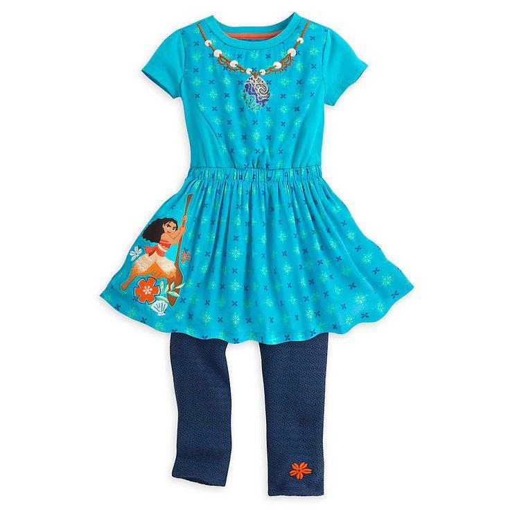 Vaiana Kleid Und Leggings Set Für Kinder  Mädchen