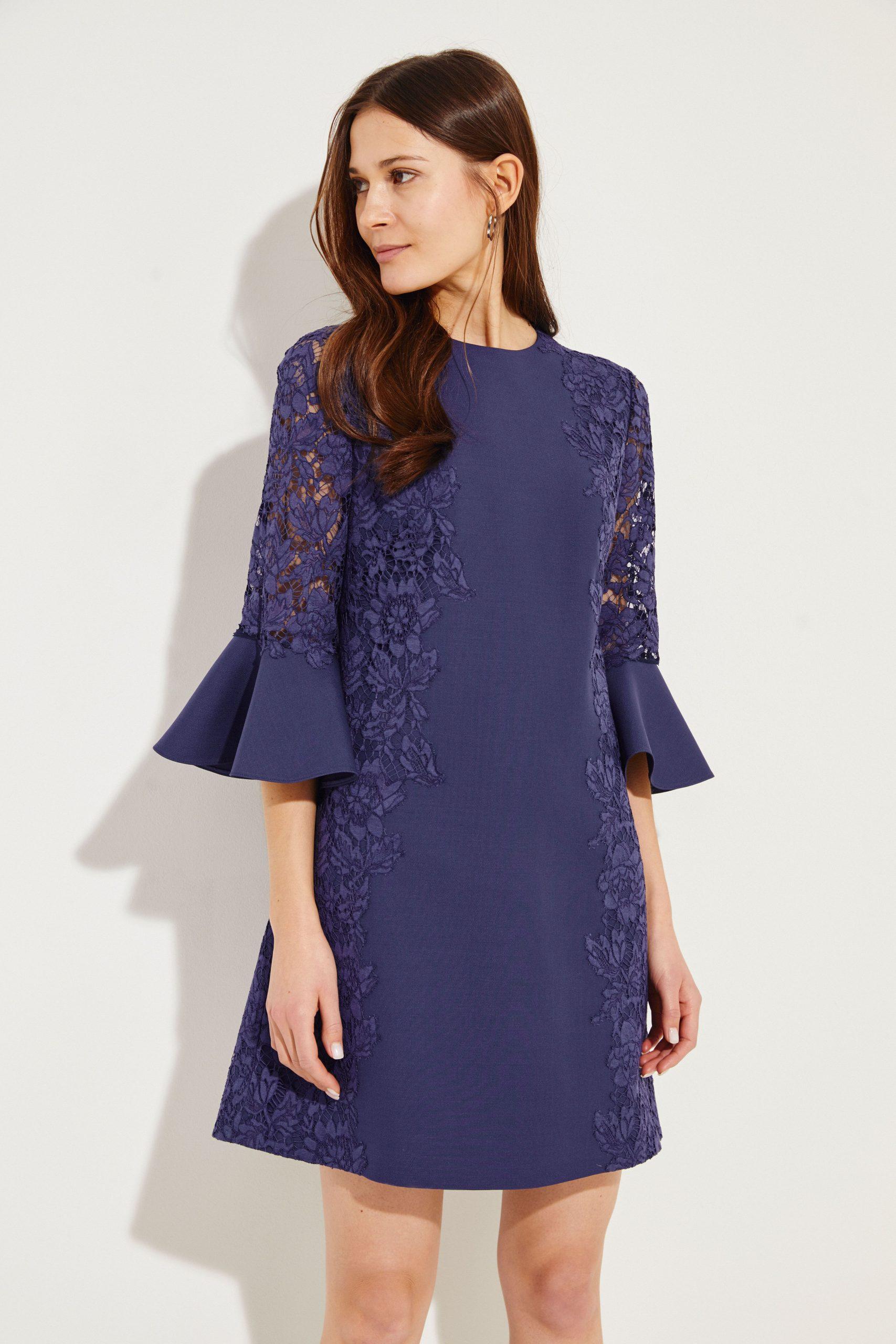Valentino Midi Dress With Lace Navy  Kleid Spitze