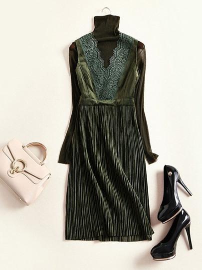 Vausschnitt Spitze Knielang Elegant Solide Kleid