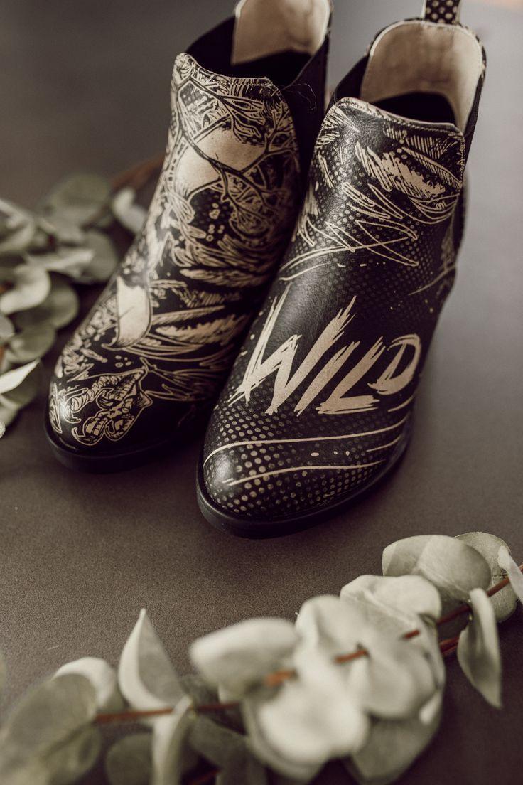 Vegane Stiefeletten Mit Schwarzweißmotiv Von Dogo Shoes