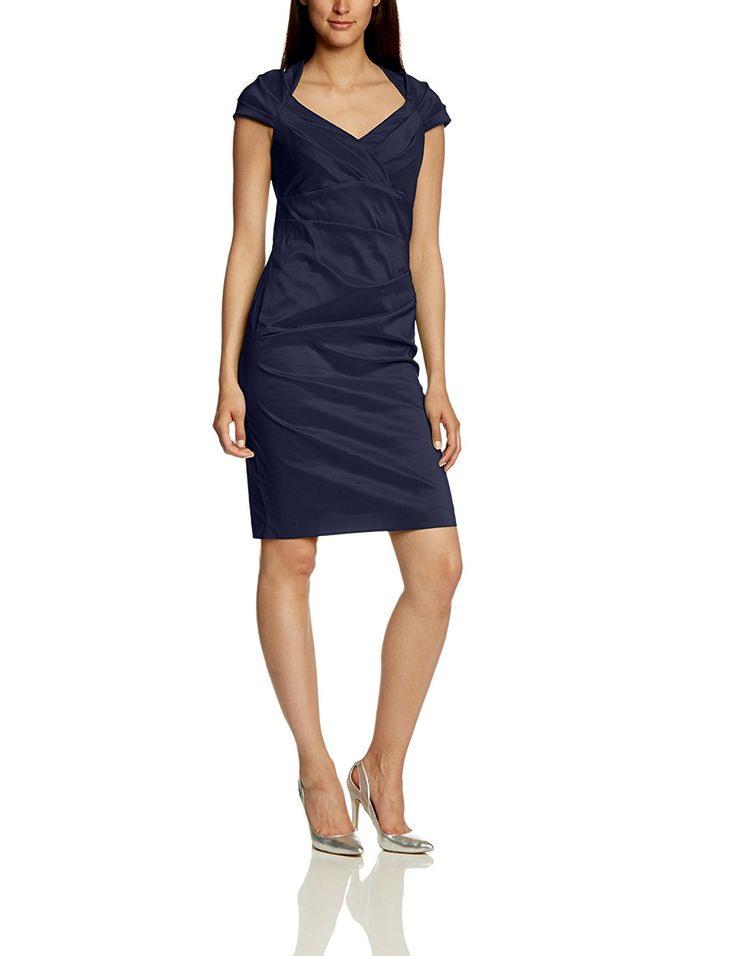 Vera Mont  Evening Blue Damen Cocktail Kleid Einfarbig