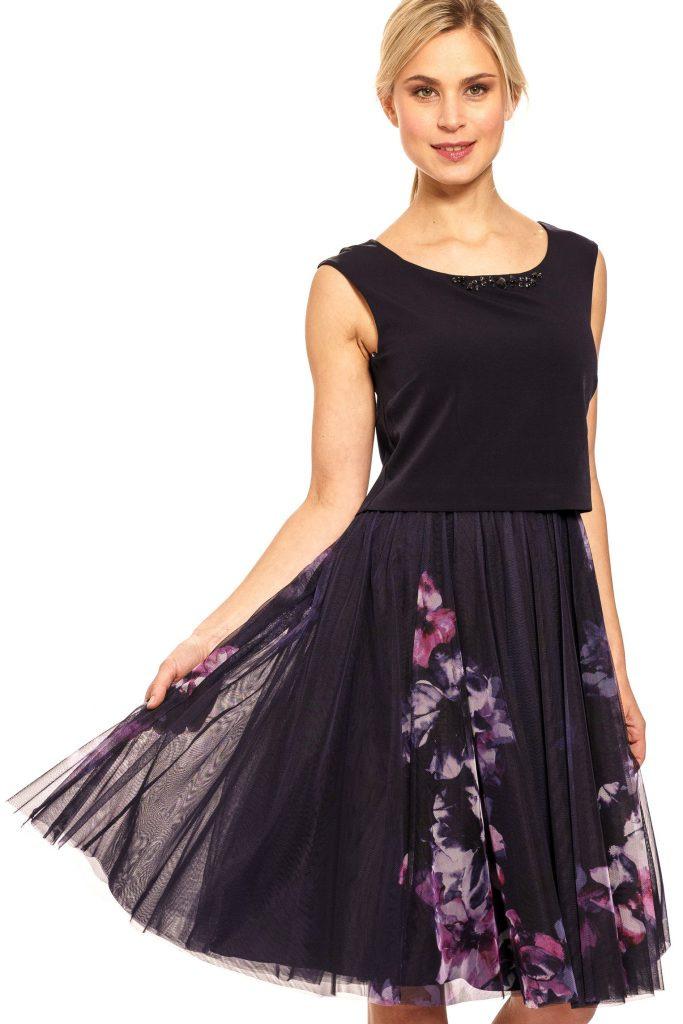 Vera Mont Kleid Damen Elegant Blau  Abiballkleider24