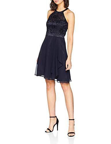 Vera Mont Vm Damen 0069/4825 Kleid Per Pack Blau Night
