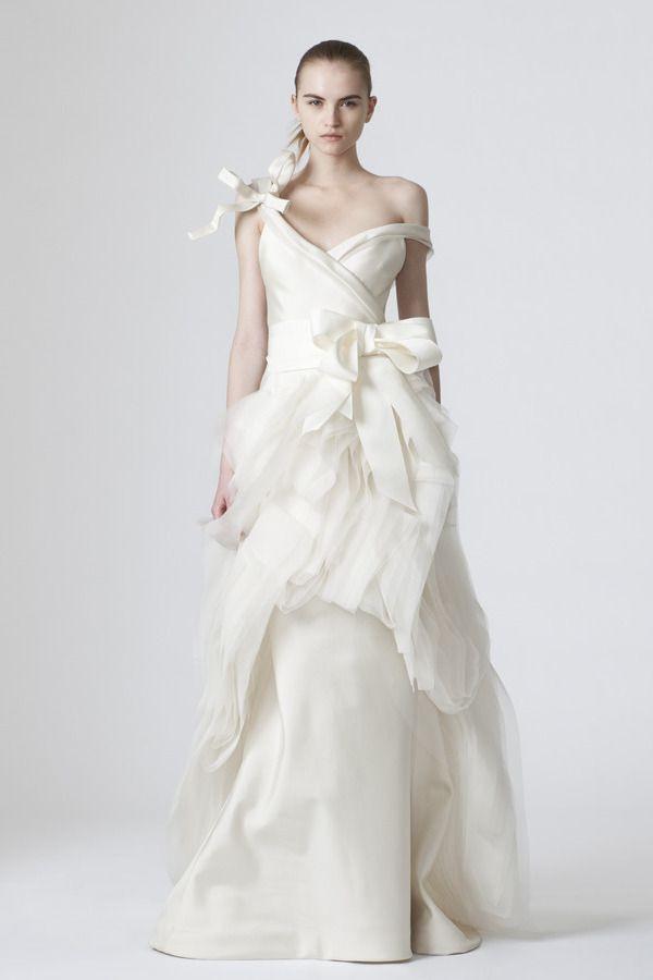 Vera Wang Ivory Asymmetricallydraped Vneck Silk Mikado A