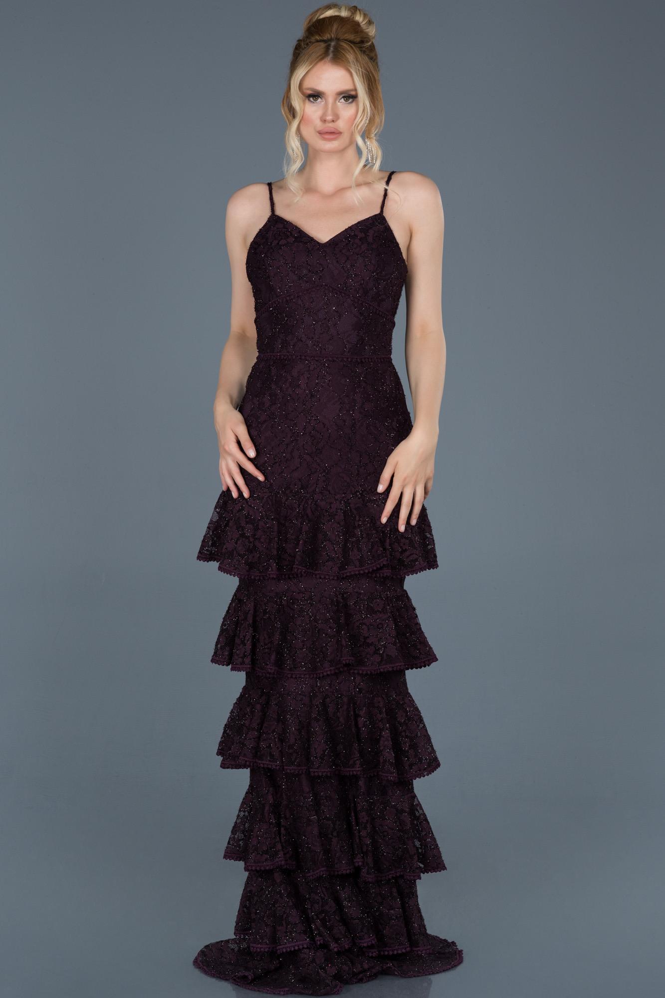 Verlobungskleid Lang Guipure Spitze Violett Abu679