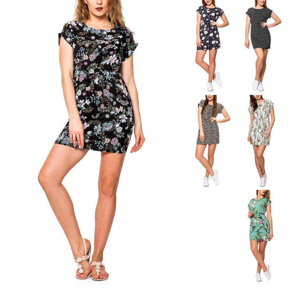 Vero Moda Damen Sommerkleid Shirtkleid Mit Print