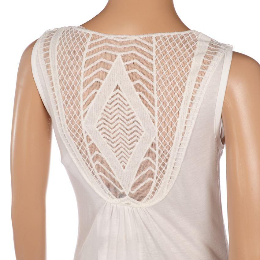 Vero Moda Kleid Weiß Ärmellos Sommerkleid Spitze Rücken